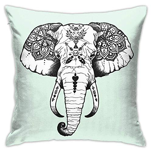 ZHENGYUAN Elefant tätowierter Gobelin-Kissenbezug, Autokissen, Sofa, Kissenbezug, Innendekoration (45 cm x 45 cm)
