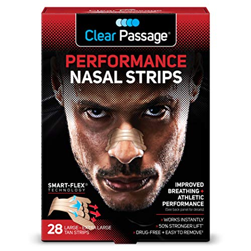 Clear Passage Performance Nasal Strips for Athletes, Tan, 28 Count | Instantly Improves Athletic Performance + Breathing, Relieves Nasal Congestion, & Reduces Snoring