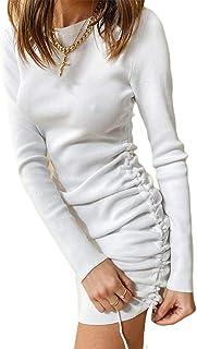 Carolilly Abito da Donna Elegante a Maniche Lunghe Tinta Unita Girocollo Aderente Mini Abito Sexy con Coulisse Laterale El...