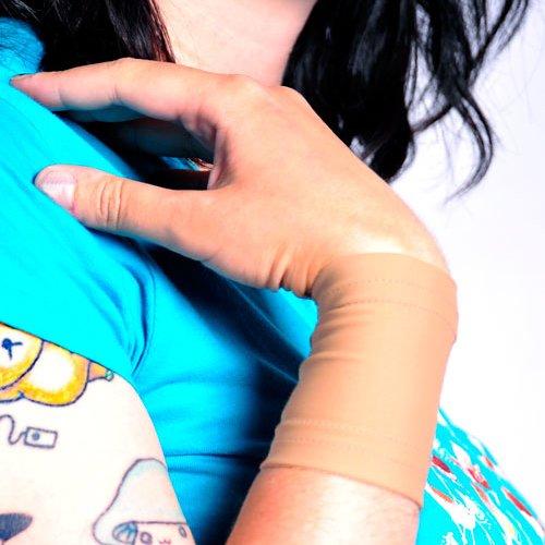 Tat2X Ink Armor Premium Wrist 3' Tattoo Cover Up Sleeve - Super Comfy - U.S. Made - Light Skin Tone (single wrist cover sleeve) (Medium/Large)