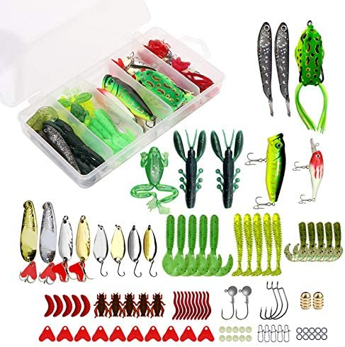 XTON 93Pcs Fishing Lures Kit Set for Bass Trout Salmon Including Frog Lures Plastic Worms Spinner product image