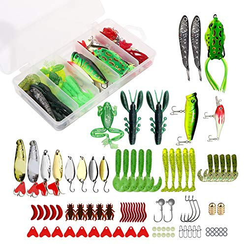 XTON 93Pcs Fishing Lures Kit Set for Bass, Trout, Salmon Including Frog Lures, Plastic Worms,...