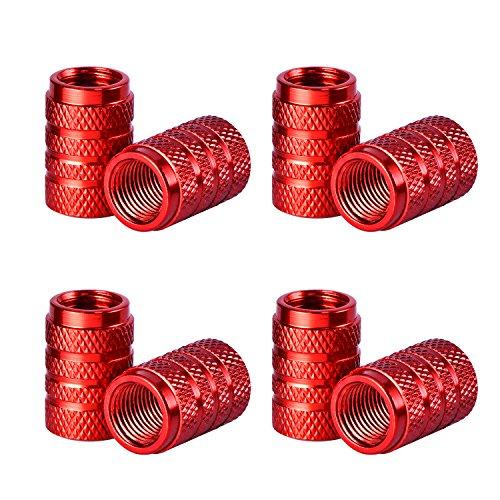 Coprivalvola Pneumatici Tappi Valvola in Alluminio Auto Tappi Antipolvere di Pneumatici Ruota Stelo Valvola Cappucci delle Valvole, 8 Pezzi (Rosso)