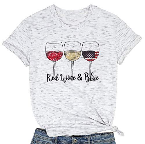 Camiseta para mujer del 4 de julio con diseño de copas de vino de color rojo, blanco y azul con la bandera de Estados Unidos para el día independiente