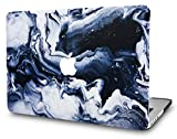 KECC Laptop Case for MacBook Pro 15' (2019/2018/2017/2016) Plastic Hard Shell Cover A1990/A1707 Touch Bar (Black Grey Marble)