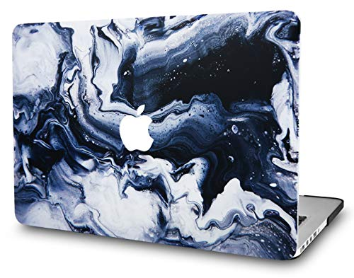 KECC Laptop Case for Old MacBook Pro 15' Retina (-2015) Plastic Case Hard Shell Cover A1398 (Black Grey Marble)