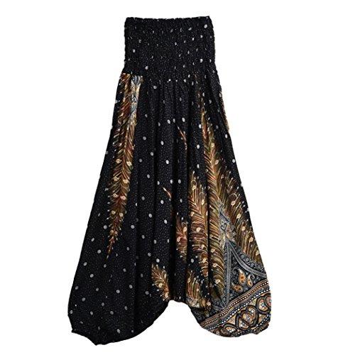 Chaud à vendre! Yahoo® Les femmes occasionnels été pantalons de yoga Baggy Boho Aladdin Combinaison Harem Pantalon Fitness Sports PantacourtGym Running Yoga Pantalon athlétique (Taille libre, Noir)