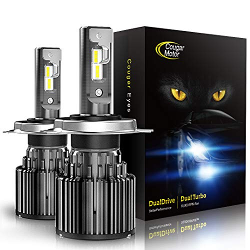 Cougar Motor H4 LED Bulbs, 9003 All-in-One Conversion Kit, 10000 Lumen (6000K Cool White) - Adjustable Beam Pattern, Quick Installation Low Fog Light