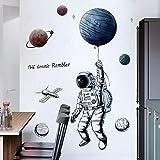 Esmee 3D Astronauta Pegatinas de Pared Vinilo Decorativo con para salón, Oficina, baño, Cocina, Dormitorio, decoración del hogar