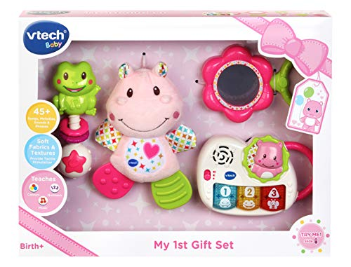 VTech My First Gift Set New Baby Gifts | Newborn Baby Toys Including Hippo Animal Plush, Baby Teether, Baby Rattle & Baby Musical Toy | Baby Toys 0, 6, 12 Months and Over for Boys & Girls, Pink