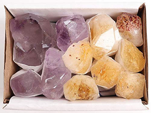 JIC Gem Mix 11-13 pcs Rough Amethyst & Citrine Crystal Point in Box Raw Natural Stones for Jewelry Making, Wire Wrapping, Reiki Crystal Healing(Light Color)
