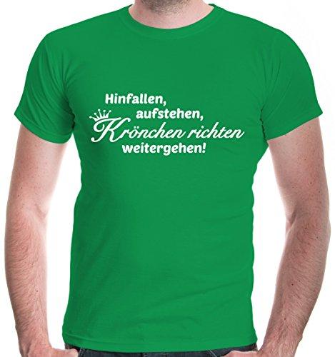 buXsbaum Herren T-Shirt Hinfallen, aufstehen, Krönchen richten, weitergehen | Sprüche Mädchen Funshirt | XXL, Grün