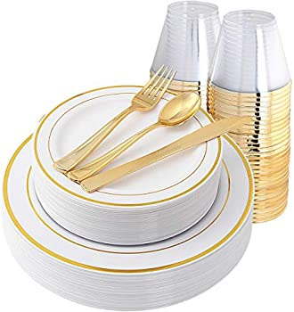 150-Pieces IOOOOO Disposable Dinnerware Set