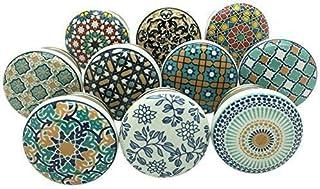 DOITOOL 6 piezas Pomos de Cer/ámica Vintage tiradores de muebles Cocina Tiradores de ceramica para cajones pomos armario cocina perillas de gabinetes de cer/ámica azul,sin base negra