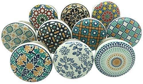 Juego de 20 pomos para puerta 'Positive Energy VI' de cerámica en estilo vintage / shabby chic para armario, cajón, tiradores para colgar con decoración Pushpacrafts