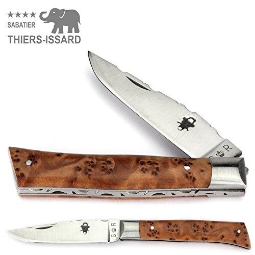 Thiers Issard Taschenmesser Alpin 9 cm - Griff Thuja Maserholz - Messer Klinge 8 cm 12C27 Sandvik Stahl