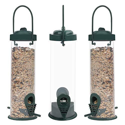 BELLE VOUS Comedero Pajaros Tubo de Plástico Colgante Comedero Aves Silvestres (Pack de 3) Capacidad de 368 g – 2 Postes de Alimentación – Impermeable para Semillas Mixtas, Girasol