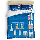 King Duvet Cover Set 4 Piece Luxury Microfiber Down Comforter Quilt Cover with Zipper Closure, Ties Cartoon Chemical Reagent Beaker Volumetric Flask Test Tube Bedding Set for Tees Boys and Girls