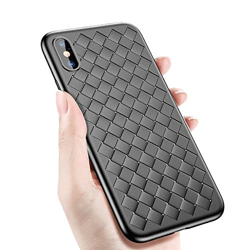 AIKEMA iPhone X Case Thin Soft Matte Texture Durable Flexible Anti-Scratch Anti-Shock Drop Protection Breathable Plaid Weaved Case (English Edition)