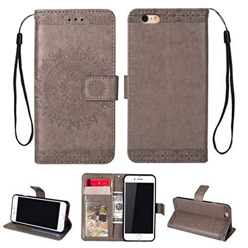 iPhone 5/5S/5SE hoesje PU lederen portemonnee reliëf Mandala bloem standaard Flip case credit card slot beschikt over beschermende DECHYI case, Grijs, iPhone 6/6s (4.7