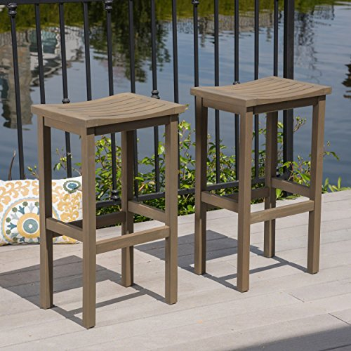 Christopher Knight Home Caribbean Outdoor 30' Acacia Wood Barstools, 2-Pcs Set, Grey Finish