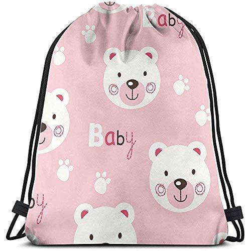 huatongxin Drawstring Backpack,Bolsa de Gimnasio Ligera,Unisex Bolsa de Hombro,Tote School Rucksack,Cute Baby Bear Sport Cinch Pack,Travel String Pull Bag,Gym Sack Bag
