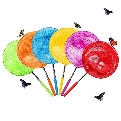 Skrtuan Redes de pesca telescópicas para niños, ideal para atrapar insectos, herramientas perfectas para el aire libre, para atrapar insectos, insectos, insectos, mariquita, extensible de 33.9in y agarre antideslizante (paquete de 6)