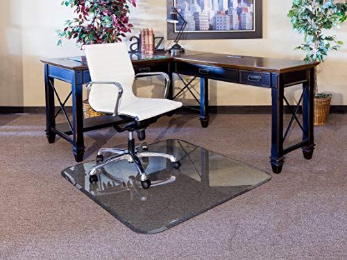 """48"""" x 60"""" Glass Chair Mat with Exclusive Beveled Edge by Clearly Innovative, 1/4"""" Thick Clear Tempered Glass with Easy Roll Edges 