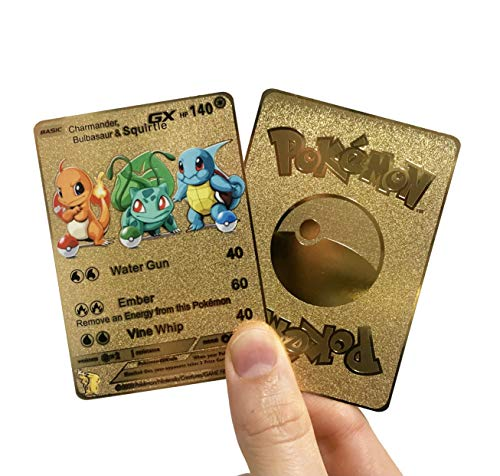 Charmander, Bulbasaur & Squirtle GX Custom Gold Metal Pokemon Card