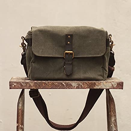 Handmade Waxed Canvas Compact Camera Messenger Bag - Fatigue Green