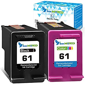 InkWorld Remanufactured Ink Cartridge Replacement for 61  1 Black & 1 Color  for HP DeskJet 2512 1512 2541 2540 2544 3000 3052a 1056 1055 3051a 2548 Envy 4500 4502 4504 5530 OfficeJet 4630 Printer