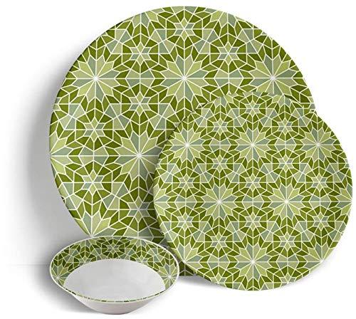 Sabella Home - Vajilla (18 piezas), color verde