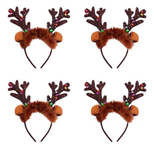 FRCOLOR 4pcs Geweih Haarreif Hirschgeweih Stirnband LED Blink Haarreifen Kopfschmuck Halloween Weihnachten Kinder Erwachsene Kostüm Karneval Fasching Party Cosplay Zubehör Foto Requisiten