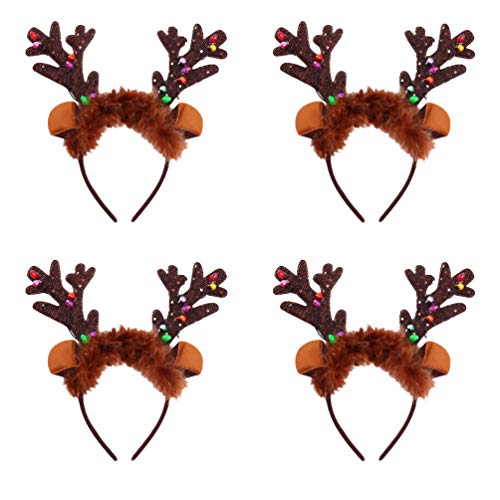 Lurrose 4pcs Christmas Hair Hoop LED Light Up Headband Christmas Antler Headwear Christmas Headdress Hair Decoration Xmas Hair Accessories for Woman Kids