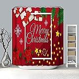 lxianghao Cortinas Baratas con Ganchos Cortinas Tejido De Poliéster Navidad/Rojo Cortina De Ducha 150 X 180 Cm
