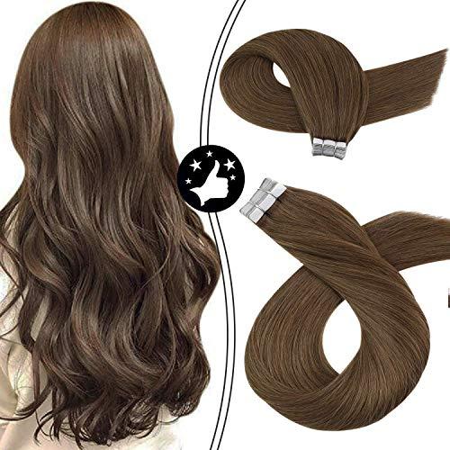 Tape in Hair Extensions Moresoo Brown Human Hair Extensions 14inch Dark Cool Brown #10 Tape in Brown Extensions 100%...