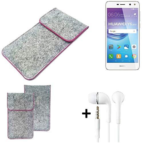 K-S-Trade Filz Schutz Hülle Für Huawei Y6 2017 Dual SIM Schutzhülle Filztasche Pouch Tasche Hülle Sleeve Handyhülle Filzhülle Hellgrau Pinker Rand + Kopfhörer