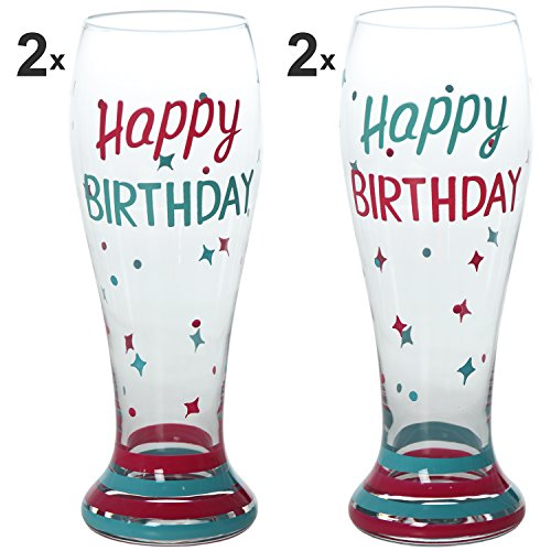 "SuskaRegalos-Set 2 Parejas Vasos Cerveza Cristal Decorado ""happy Birthday_ø8,6x23cm"