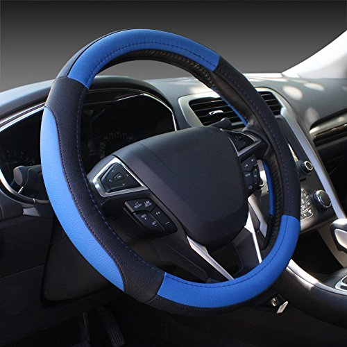 SEG Direct Black and Blue Microfiber Leather Auto Car Steering Wheel Cover Universal 15 inch