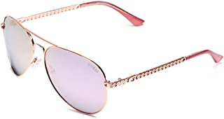 GUESS Factory Women's Metal Chain-Link Aviator Sunglasses