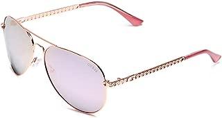 GUESS Factory Women's Metal Chain-Link Aviator Sunglasses