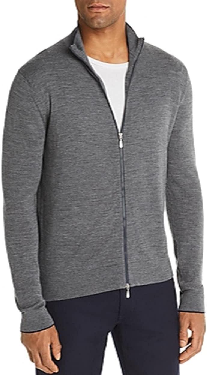 Bloomingdale's Medium Gray Front-Zip Merino Wool Cardigan, US Large