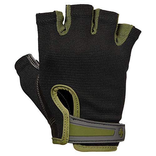 Harbinger Men's Flexfit Weight Lifting, Wash and Dry Leather, Vented StretchBack Mesh Gym Gloves, Green, L, Large