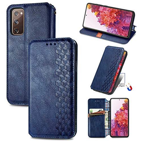 Bear Village Hülle für Galaxy S20 FE/Galaxy S20 Lite, PU Leder Flip Handyhülle für Samsung Galaxy S20 FE/Galaxy S20 Lite, Brieftasche Schutzhülle mit Standfunktion & Kartenfächer, Blau