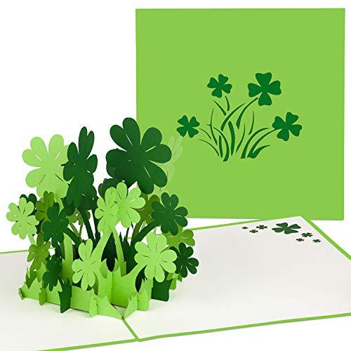 PaperCrush® Pop-Up Karte Glücksklee (Grün) - Handgemachte Geschenkkarte für diverse Anlässe (Geburtstag, Viel Erfolg für Prüfungen, Gute Besserung Karte) - Besondere 3D Geburtstagskarte mit Klee