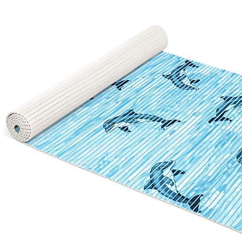 ANRO Weichschaummatte Badematte Bad Dusche WC Vorleger Teppich Antirutsch Badläufer Delfine Blau 100x65cm