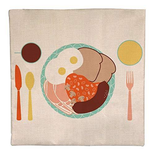 CHUNZO London Breakfast linnen kussensloop decoratieve vierkante geometrische dierenvorm bank slaapkamer bar café dubbelzijdige persoonlijkheid decor cadeau