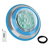 Roleadro Luz LED para piscina, impermeable IP68 47 W RGB luces de piscina multicolor (no incluye blanco), 12 V AC/DC LED Inground control de luz de piscina con mando a distancia (no incluye batería), cable de 5 pies