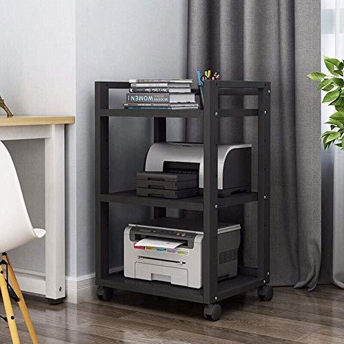 CanKun Soporte Impresora, Gabinete Impresión Estante Impresora 3 Capas Soporte De Impresora De Oficina Escritorio Madera Giratorio 360 ° Soporte Impresora Estable Mesa Impresora Multifuncional,A1