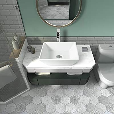 "Sinber 16"" x 16"" White Square Ceramic Countertop Bathroom Vanity Vessel Sink"
